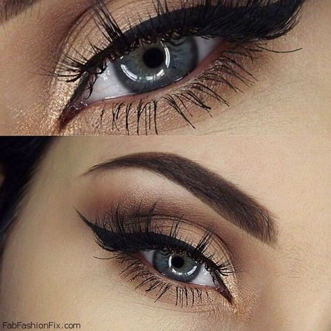 Golden glow, shaped eyebrows and soft winged eyeliner makeup inspiration. #makeup #eyeliner #golden  #winged #eyebrows