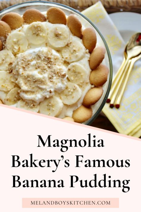 This is the official published recipe for the Famous Magnolia Bakery's Banana Pudding. It is made with simple ingredients that come together like magic to create the BEST Banana Pudding in the world! Magnolia Bakery Banana Pudding, Banana Pudding Cheesecake, Best Banana Pudding, Banana Pudding Recipes, Southern Banana Pudding, Pumpkin Cheesecake, Just Desserts, Delicious Desserts, Dessert Recipes
