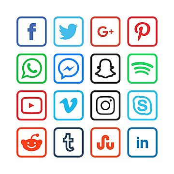 Colorful Square Social Media Icons Social Icons Media Icons Square Icons Png And Vector With Transparent Background For Free Download In 2021 Social Media Icons Social Icons Media Icon