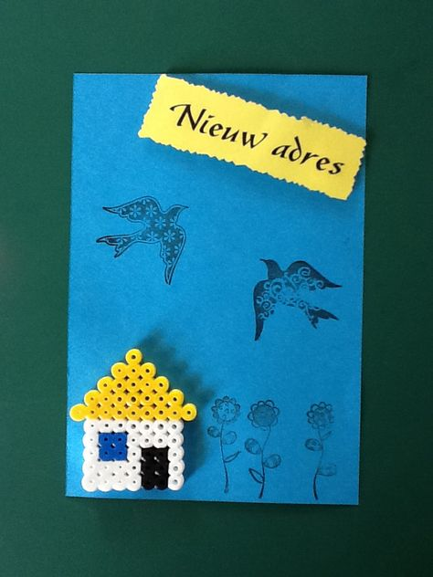 New adress card made with iron beads, paper and rubber stamps