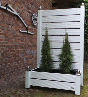 mobiler sichtschutz mit pflanzkasten 185 x 120 blumenkasten weiss, Hause deko