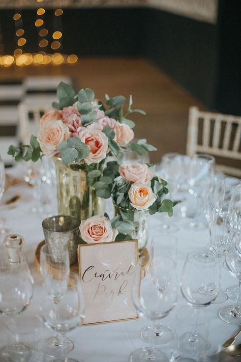 Pink Rose Floral Centrepiece | Pastel Pink & Mint Green Wedding at Granary Estates Suffolk | Julia & You Photography