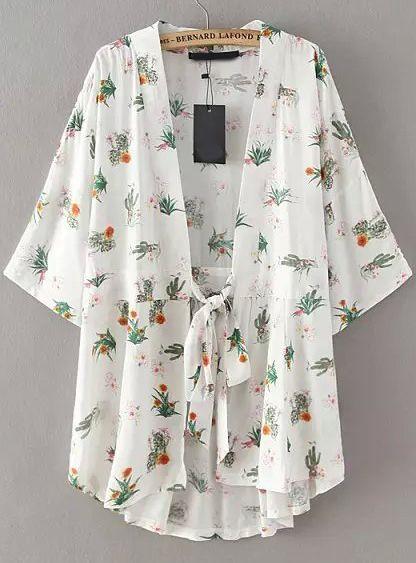 Product name: White Tie-waist Floral Loose Kimono at SHEIN, Category: KimonosFashionable Floral Print Lace-Up Sleeve Kimono Blouse For Women Kimono Fashion, Hijab Fashion, Boho Fashion, Fashion Outfits, Kimono Blouse, Floral Kimono, Hipster Grunge, Mode Kimono, Mode Abaya