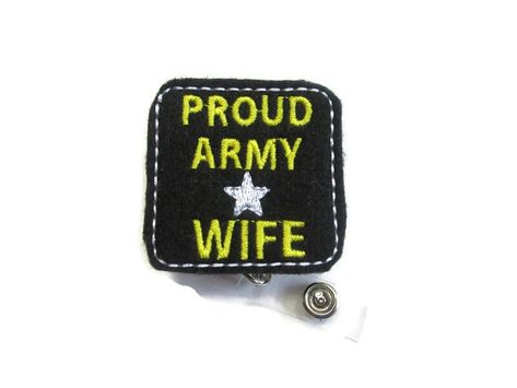 ~This is a listing for a Proud Army Wife Badge Reel, Army Badge Clip, Teacher Badge Reel, Nurse Badge Reel, Work Badge Holder, ID Badge Reel, Retractable Reel ~These are perfect badge holders and we are starting to offer a variety to choose from. ~We attach feltie to a retractable alligator swivel clip badge reel or slide clip. Refer to the drop down for options. ~As of right now all reels we carry come in black. ~Check out the rest of our badge reels. We are adding more daily.