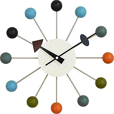 Tiandihe Wood Ball Wall Clock Silent Battery Operated Non Ticking 13 Inches Pop Color Quartz Clock Deco Nelson Ball Clock George Nelson Wall Clock Nelson Clock