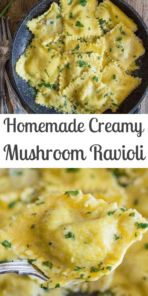 Homemade Creamy Mushroom Ravioli
