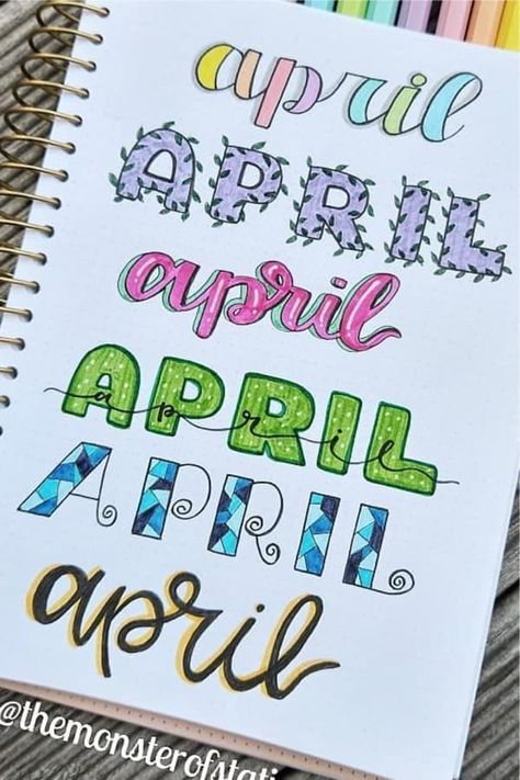 If you need help starting out your spreads and layouts for the month, then check out these super cute bullet journal april headers for inspriation! Bullet Journal School, April Bullet Journal, Bullet Journal Headers, Bullet Journal Banner, Bullet Journal Writing, Bullet Journal Aesthetic, Bullet Journal Ideas Pages, Bullet Journal Inspiration, Daily Journal