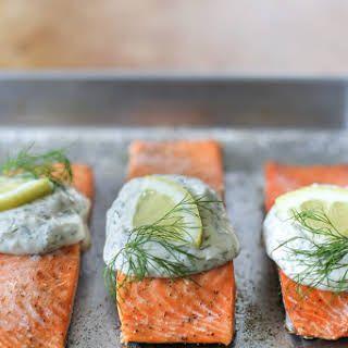 Salmon With Creamy Garlic Dill Sauce Recipe Yummly Recipe Dill Sauce Salmon Fillet Recipes Healthy Sour Cream