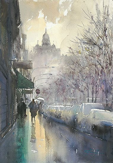 Batignolles Paris Watercolor Painting By The Japanese Artist