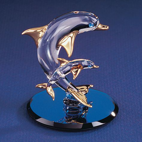 Dolphin Lover Gift Gold Gilding Dolphin Figurine Dolphin Tealight Holder Vintage Lenox