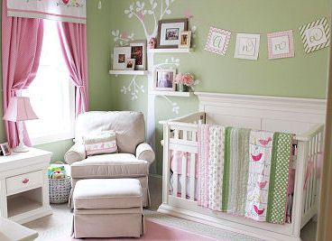 Soft Pink and Mint Green Nursery Decor for a Baby Girl in a Bird Theme:  Designer, Kara Huycke of Izzy Designs, has some lovely pink and green baby