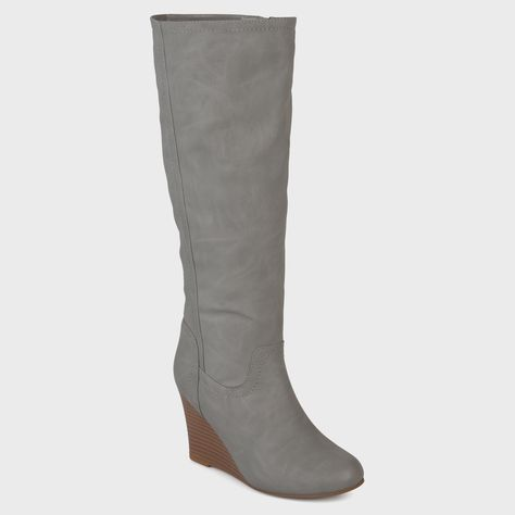 076168ebd09c Women s Journee Collection Langly Round Toe Mid-calf Wedge Boots - Gray 7  WC
