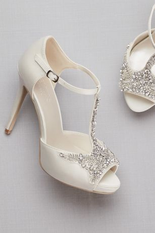 Crystal T Strap Satin Peep Toe Platform Heels David S Bridal Wedding Shoes Platform Sparkly Wedding Shoes Wedding Shoes Pumps