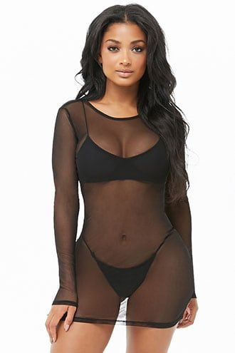 5b2c85a716 Sheer Mesh Swim Cover-Up Dress in 2019 | Products | Swim cover up ...