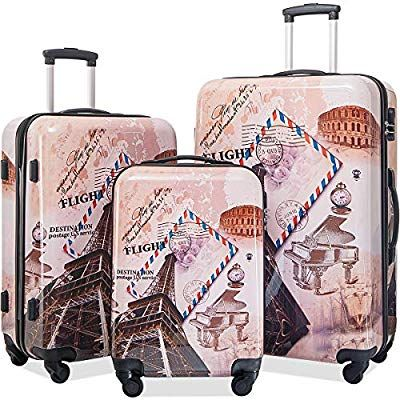 aaf3cd92a2e7 Flieks Graphic Print Luggage Set 3 Piece ABS + PC Spinner Travel ...