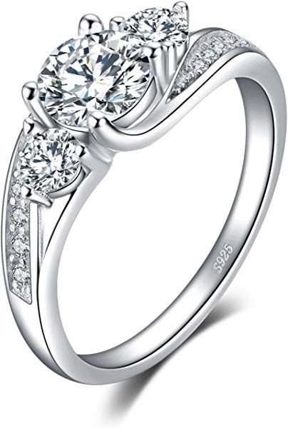 Amazon Com Jewelrypalace Classic 1 5ct 3 Stones Cubic Zirconia Engagement Promise Ring 925 Sterling Silver Size 5 Jewe Jewelry Engagement Rings Promise Rings