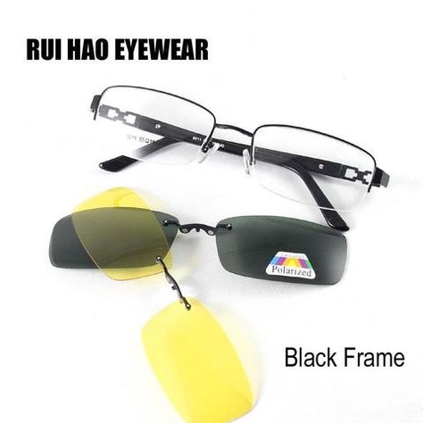 e88f15eab6 the best Wholesale Super Light Alloy Men Glasses Frame + Magnetic Clip-on  Sunglasses Yellow Polarized Night Vision Sunglasses sale