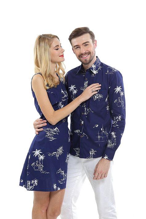 936b2a459b Couple Matching Hawaiian Luau Cruise Outfit Shirt Dress Classic Navy -  Classic Navy - CG12NUOB1I0