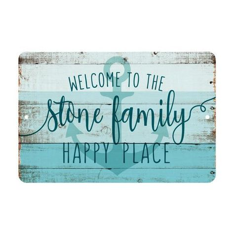Personalized Welcome To The Family Happy Place Rustic Nautical Look Metal Sign Rustic Sign Welcome Sign Door Sign Rustic Signs Welcome To The Family Outdoor Beach Decor