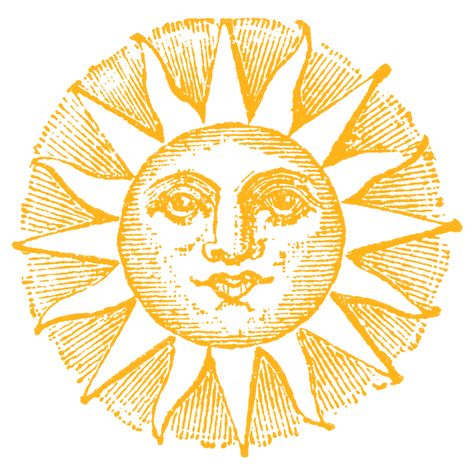 Vintage Clip Art - Old Fashioned Sun with Face