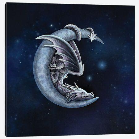 dragon tattoo designs Sweet Dreams Canvas Artwork by Lisa Parker Dragon Tattoo For Women, Dragon Tattoo Designs, Baby Dragon Tattoos, Dragon Tattoo Drawing, Fairy Tattoo Designs, Moon Drawing, Fantasy Kunst, Fantasy Art, Canvas Artwork