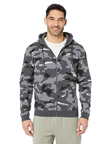 Nike Mens Club Camo Basketball Full Zip Hoodie Midnight Navy