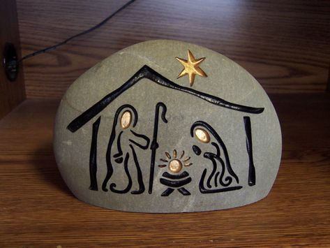 Hand Engraved Nativity Stone for Christmas decor and gifts #kidswoodcrafts