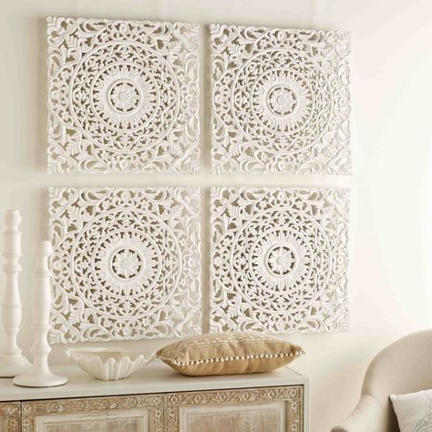 4 bleached and carved friezes 60 x 60 cm   Maisons du Monde