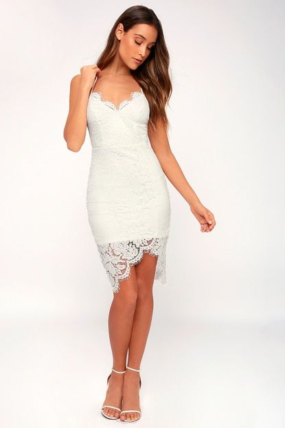 e79579c975939 Lulus | Flirting with Desire White Lace Bodycon Dress | Size Large ...