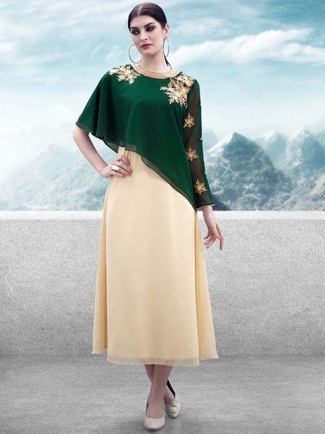 7a9fc84e56 Iris Bottle Green & Beige Designer Kurti with Jacket #Green #Beige  #Embroidered #Kurti