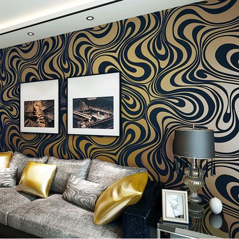 pinteresthanmero modern minimalist abstract curves glitter non woven 3d wallpaper for bedroom living room tv backdrop brown, wallpaper amazon canada