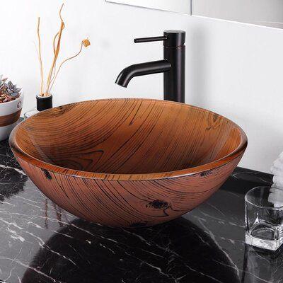 Aquaterior Brown Glass Circular Vessel Bathroom Sink Wayfair In 2020 Glass Sink Sink Vessel Sink Bowls