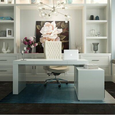 Home Office Space, Home Office Desks, Home Office Furniture Ideas, White Office Furniture, Modern Office Desk, Home Office Lighting, Study Office, Office Table, Small Office
