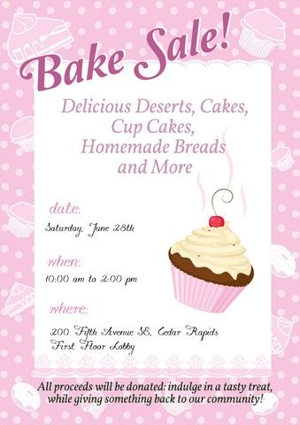 This bake sale sign is bold and cute with a charming pie - bake sale flyer