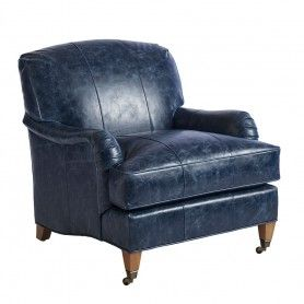 Sydney Leather Chair Navy Blue Leather Barclay Butera Ll5110