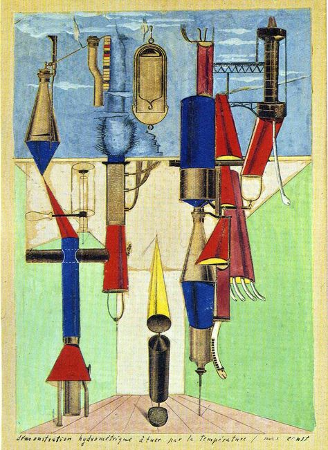 Max Ernst, Hydrometric Demonstration, collage and gouache, 1920