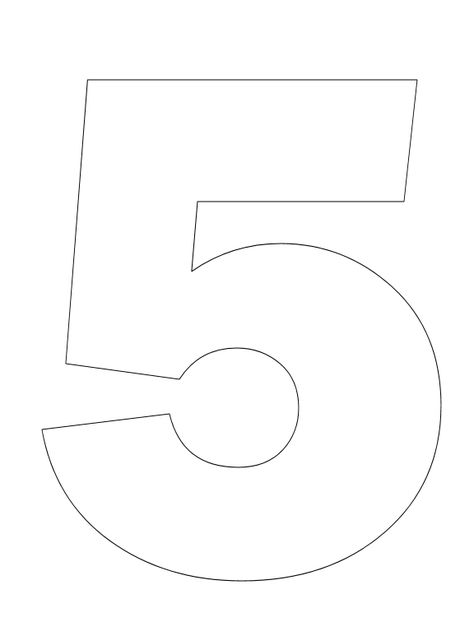Number Pictures to Color: Number 5 Coloring Page