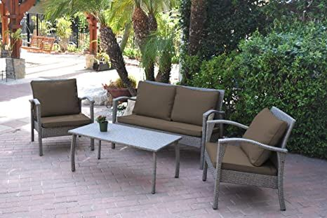 Jeco W00404 G Fs007 Meredith 4 Peces Conversation Set With 2 Inch Brown Cushion Grey Garden Patio Furniture Buy Outdoor Furniture Seating Groups