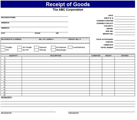 Image result for goods received note format download Excel - Goods Receipt Form