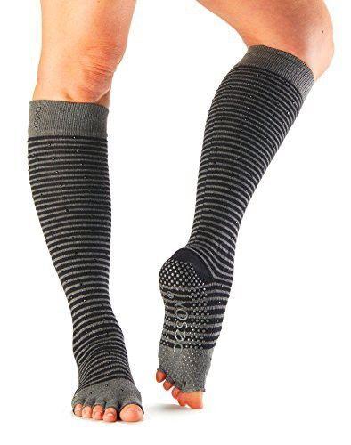 ToeSox Scrunch Half Toe Knee High Grip Non-Slip Socks Barre Pilates Yoga Socks