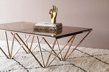 Smoked Glass Rose Gold Pyramid Coffee Table Glass Table Table