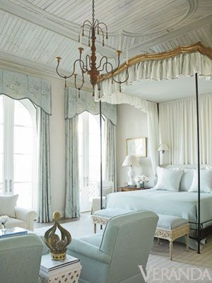 Yummy and classic mix of antique canopy and iron bed. Monochromatic bedrooms are the most calming.  Gorgeous master bedroom white with light blue green accent perfect for french country upscale