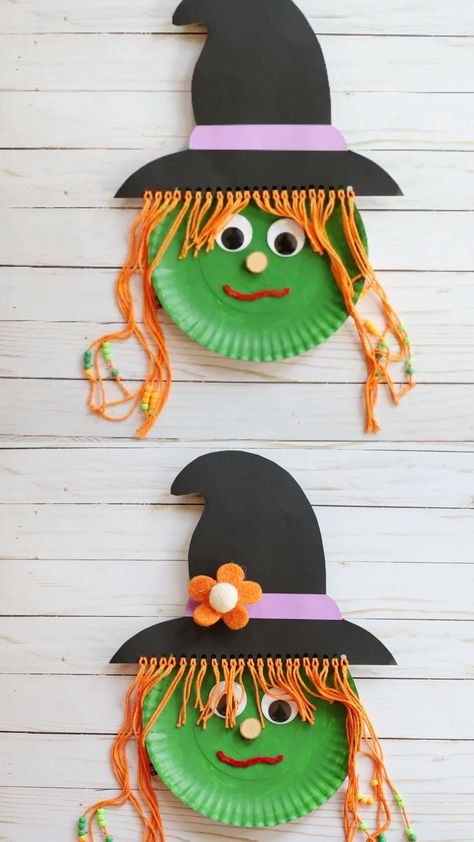 Paper plate witch craft for kids. Use a paper plate and yarn for this easy Halloween craft for preschoolers, kindergartners and older kids. Great Halloween classroom party craft idea for preschool. An easy witch craft for kids to help them practice their fine motor skills. Make a cute witch hat for your witch. Thread beads into the witch's yarn hair. #paperplatewitch #paperplatewitchcraft #witchcraft #witchcraftforkids #Halloweencraftsforkids #Halloweencraftsforpreschool #Halloweencrafts