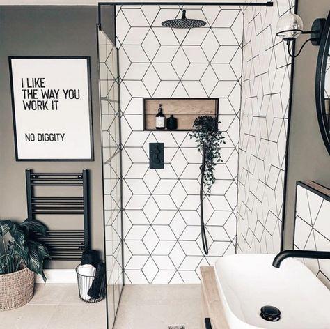 White Tile Shower, White Bathroom Tiles, Home, Modern Farmhouse Bathroom, Master Bathroom Design, Bathroom Inspiration, Bathroom Remodel Master, Black Bathroom, Small Home Gyms