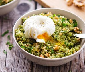 Quinoa Kale Pesto Bowls with Poached Eggs from The Iron You for #MeatlessMonday at BlogHer.  This might be The Best Way to Celebrate Seuss Day, with Greens, Eggs and No Ham!