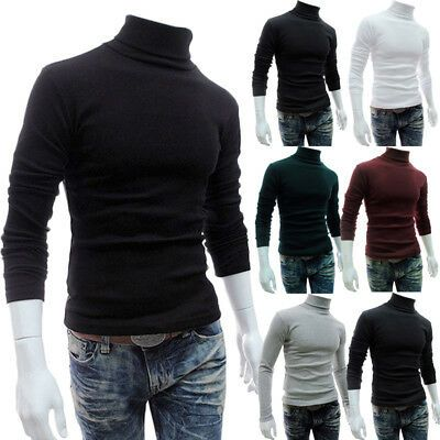 SHOWNO Mens Knitted Slim Turtle Neck Stretchy Thermal Pullover Sweater Jumper
