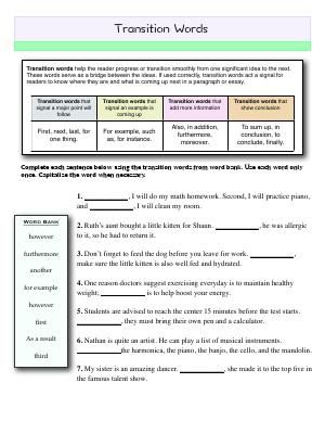 Worksheet Transition Words Complete Each Sentence Using The