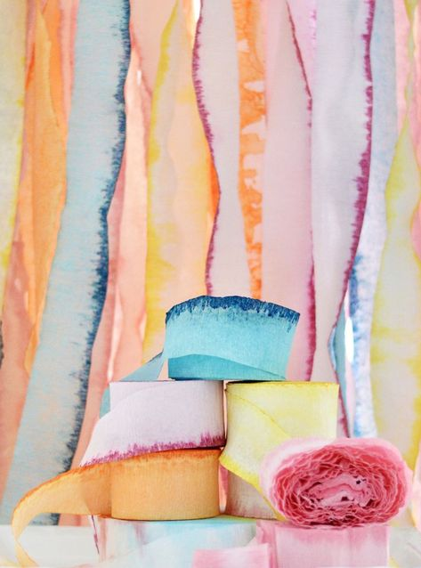 Dip-Dye Crepe Paper Dip-Dye Crepe Paper Streamers A Subtle Revelry. We can't get enough of dip dyed crepe paper. The perfect way to bring even more color to your next party. Streamer Backdrop, Crepe Paper Streamers, Backdrops, Party Streamers, Diy Party Decorations, Crepe Paper Decorations, Streamer Decorations, Decorating With Streamers, Crepe Paper Crafts