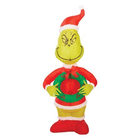 CHRISTMAS SANTA 4 FT DR SEUSS THE GRINCH AIRBLOWN INFLATABLE YARD DECOR **NEW