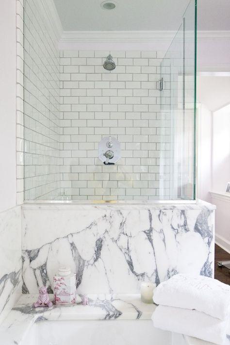 marble + subway tile